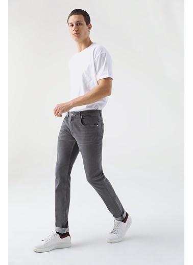 Damat Slim Fit Denim Pantolon Gri